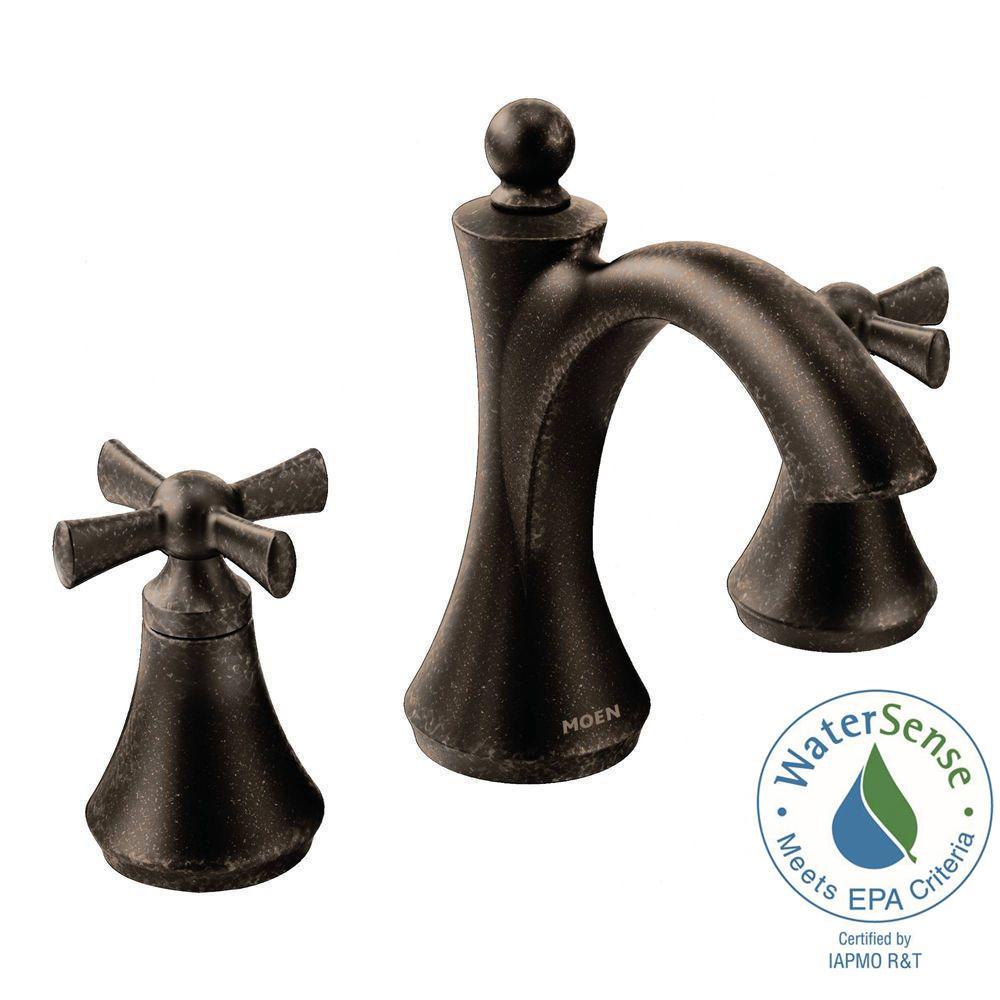 Moen wynford 8 in widespread 2 handle high arc bathroom - Moen rubbed bronze bathroom faucets ...