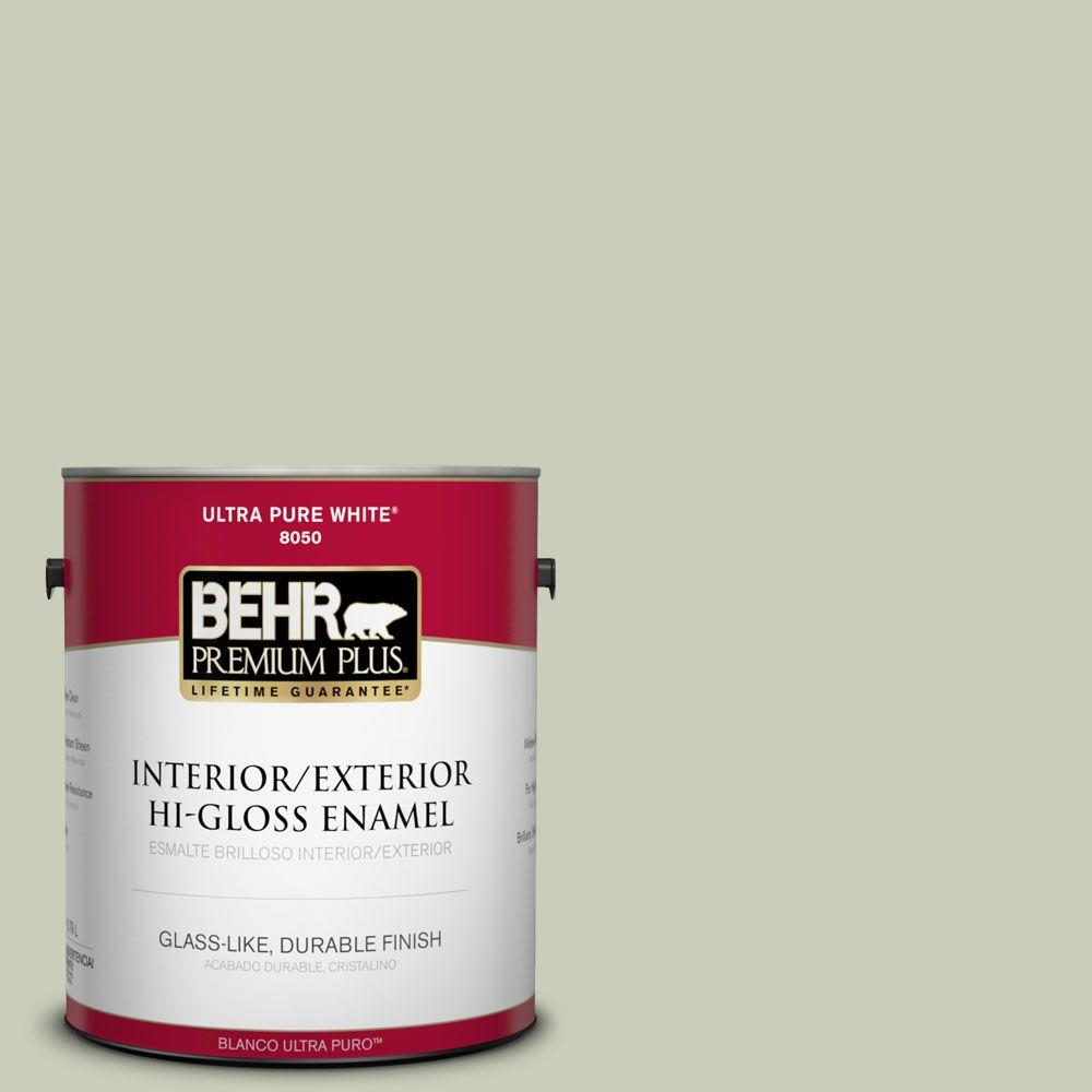 BEHR Premium Plus 1-gal. #S380-2 Morning Zen Hi-Gloss Enamel Interior/Exterior Paint