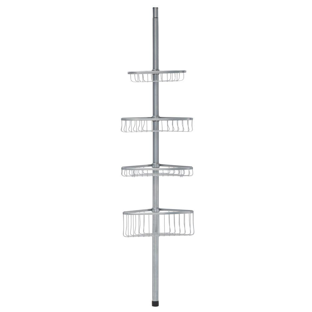 Interdesign York Tension Pole Caddy In Powder Coated Silver 42686