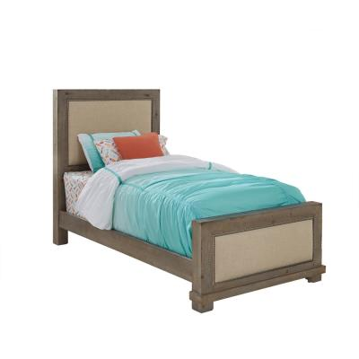 Willow Weathered Gray Twin Upholstered Bed