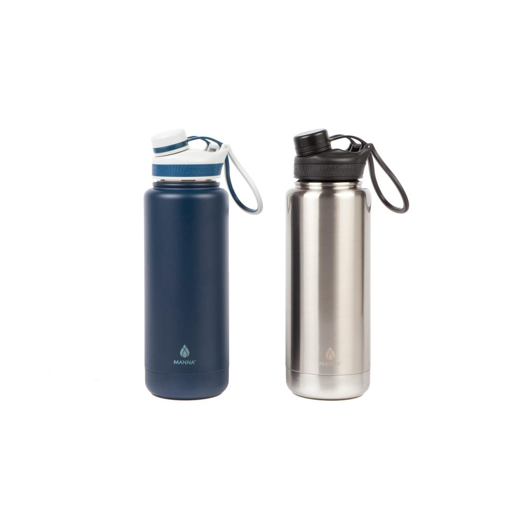 Ranger Pro 40 oz. Stainless and Navy Stainless Steel Vacuum Bottle