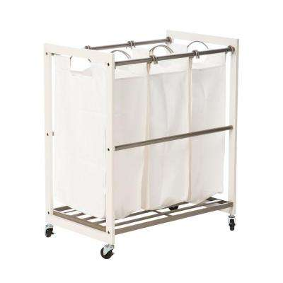 Mobile 3-Bag White Laundry Cart