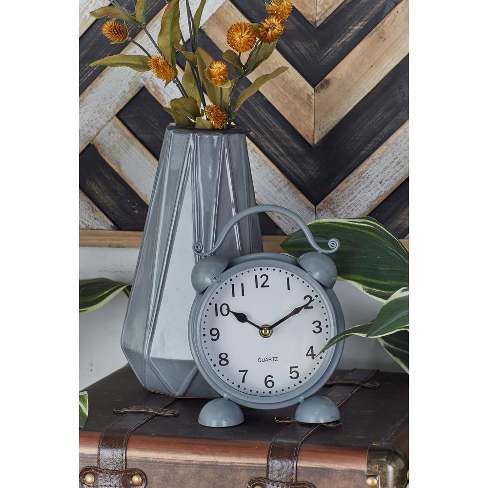 Vintage Black, White and Gray Alarm Clock-Style Table Clocks (Set of 3)