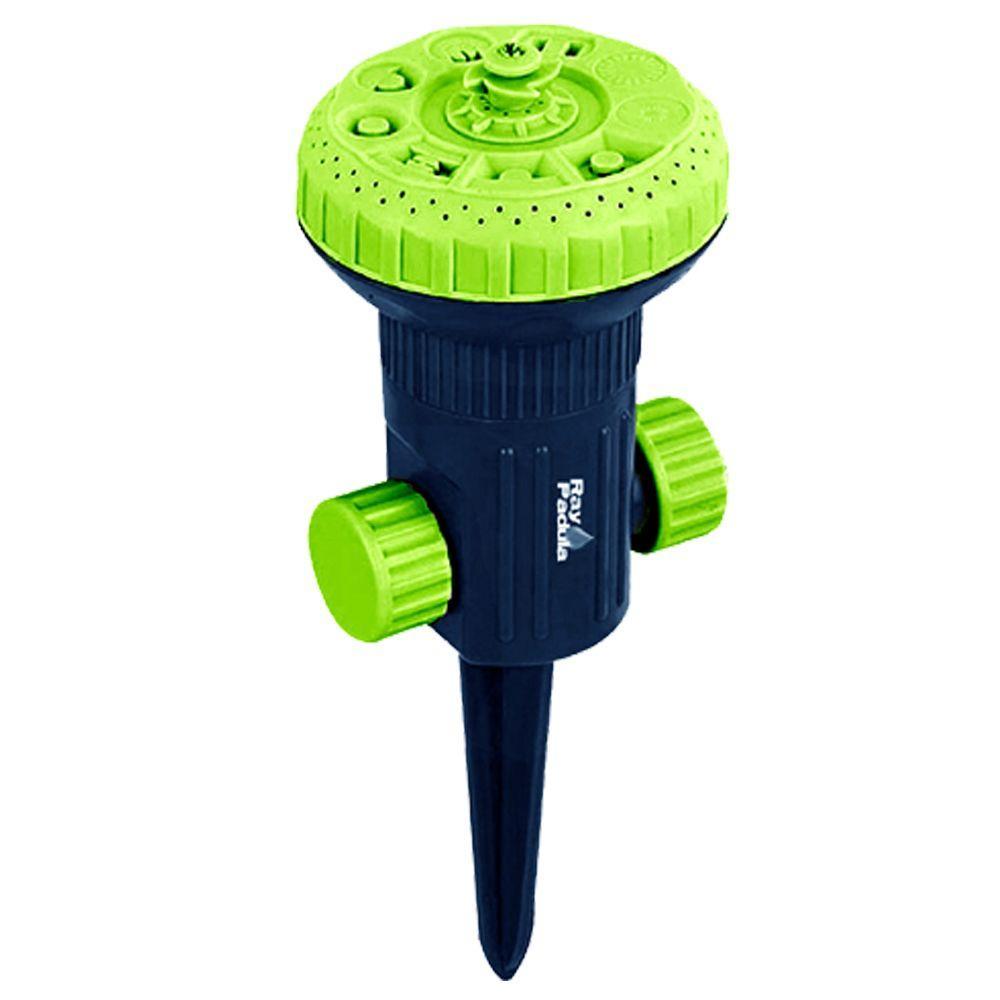 2-in-1 9-Pattern Turret Stationary Sprinkler on In-Series Spike