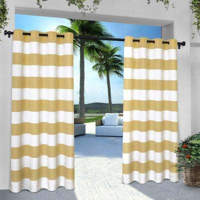 Indoor Outdoor Stripe 54 in. W x 96 in. L Grommet Top Curtain Panel in Sundress Yellow (2 Panels)