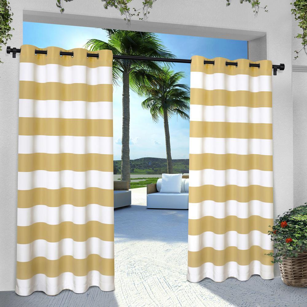 Indoor Outdoor Stripe 54 in. W x 96 in. L Grommet Top Curtain Panel in Sundress Yellow (2 Panels)