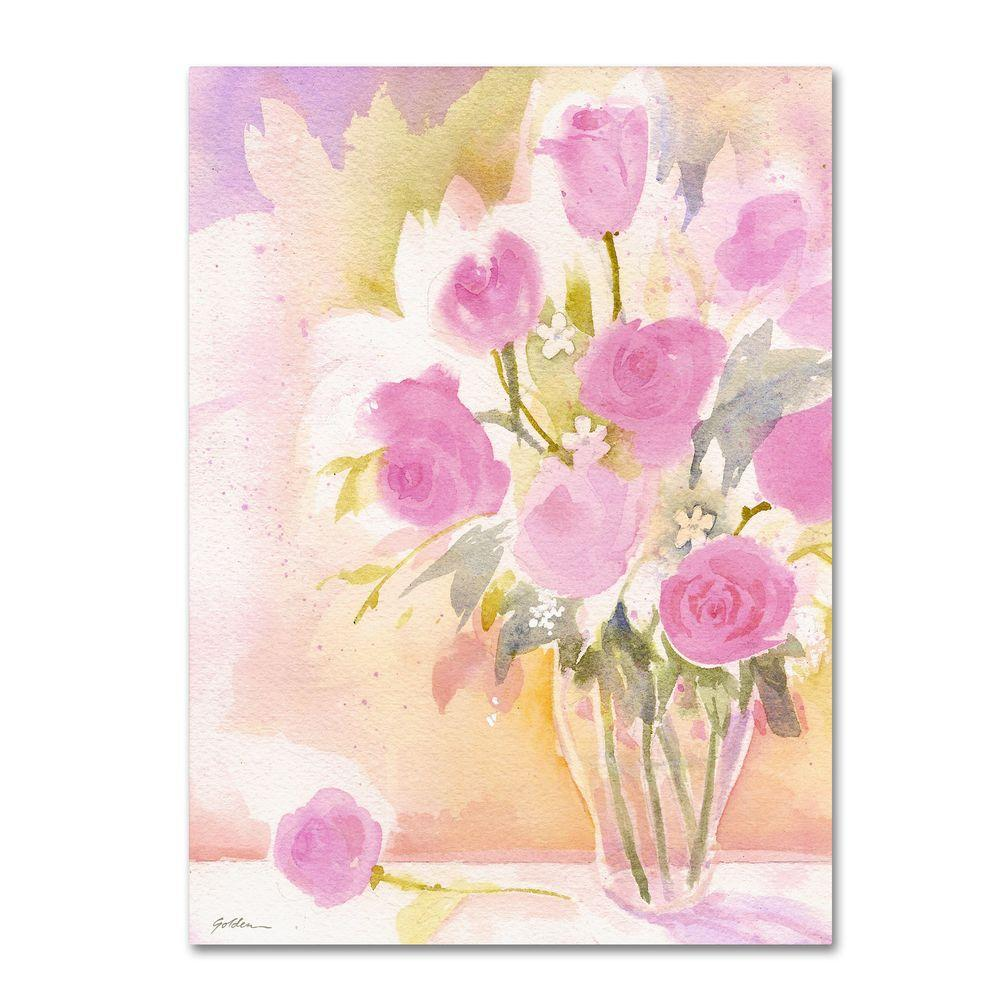 Trademark Fine Art 26 in. x 32 in. Vase with Pink Roses Canvas Art