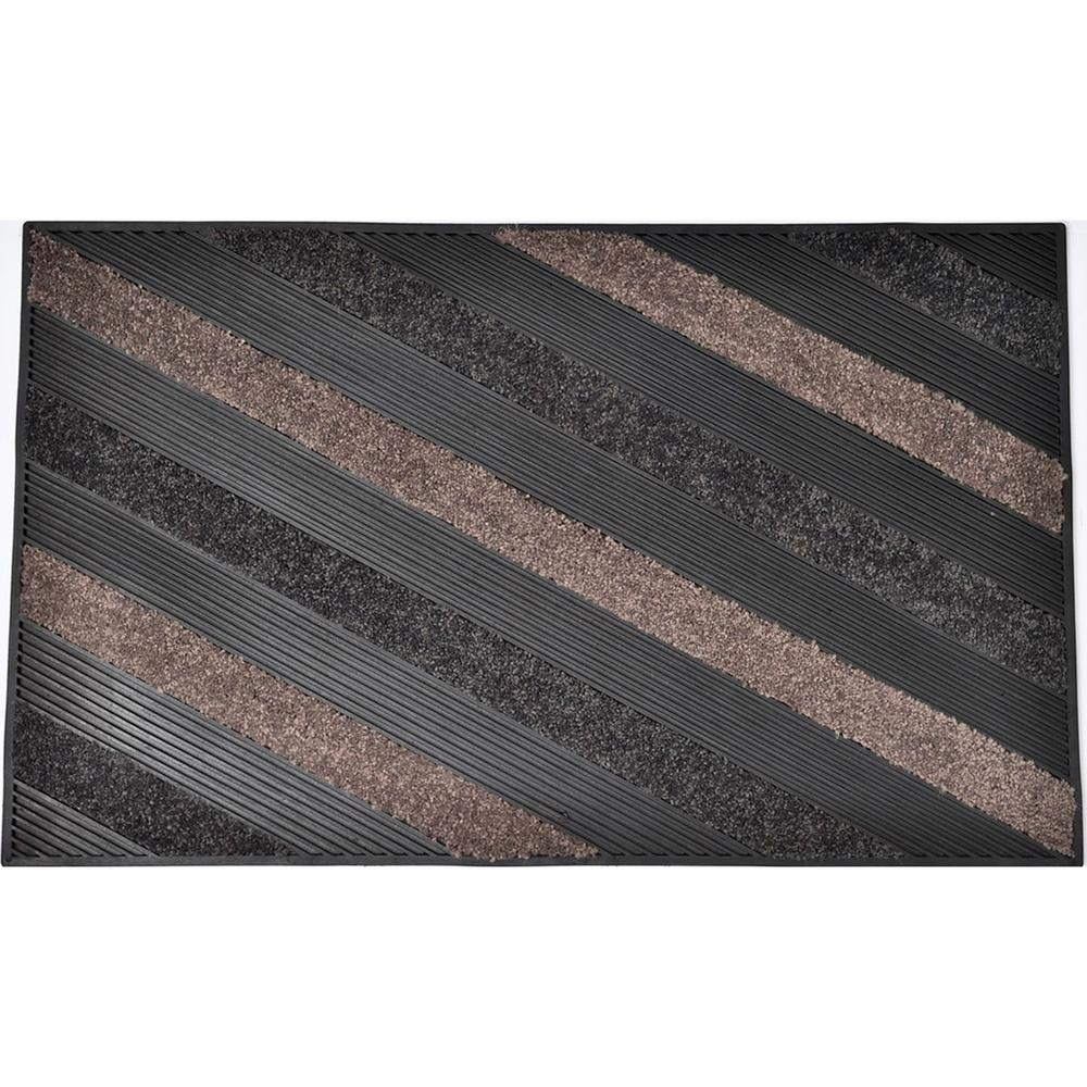 Evideco 30 in. x 18 in. Taupe Sheltered Front Door Mat Blake Nylon Rubber Striped