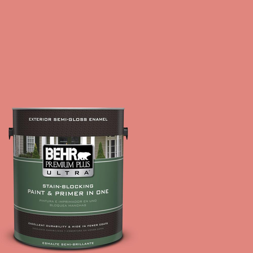 BEHR Premium Plus Ultra 1-gal. #170D-5 Mellow Coral Semi-Gloss Enamel Exterior Paint