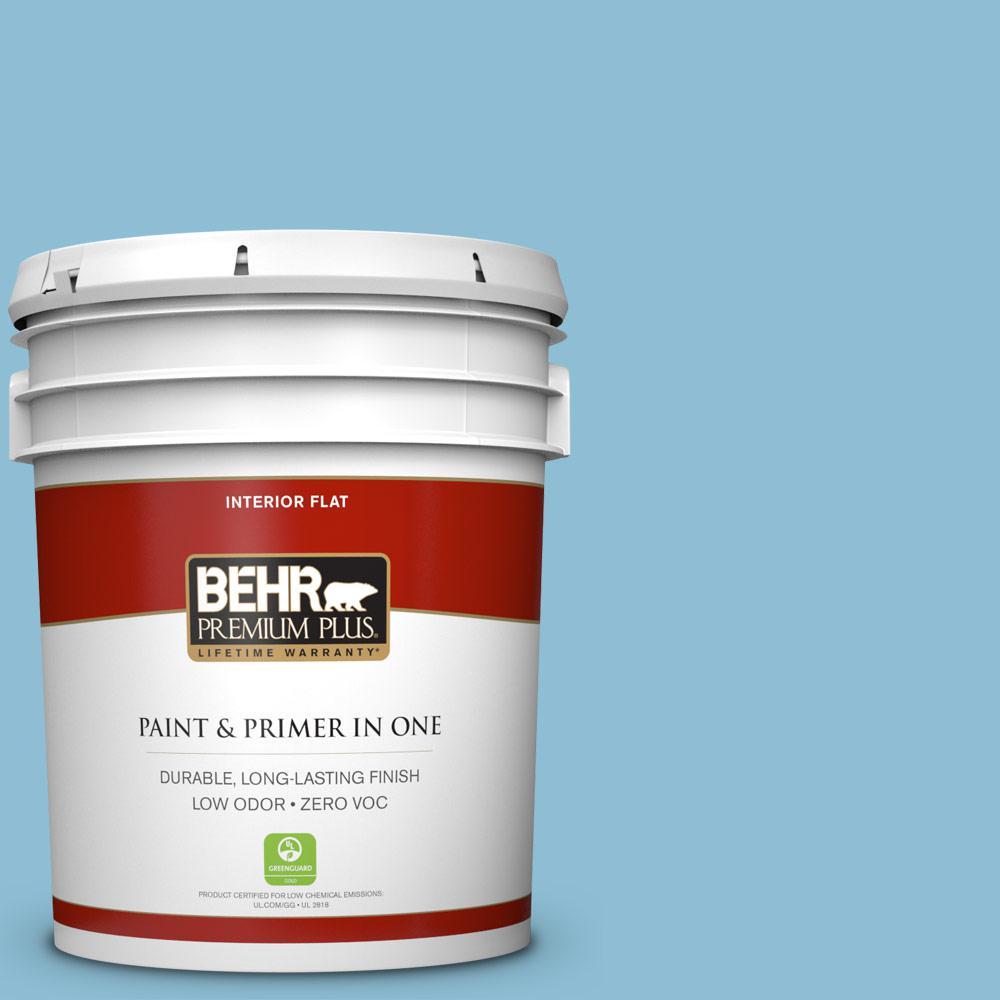 BEHR Premium Plus 5 gal. #M490-3 Speedboat Flat Zero VOC Interior Paint and Primer in One