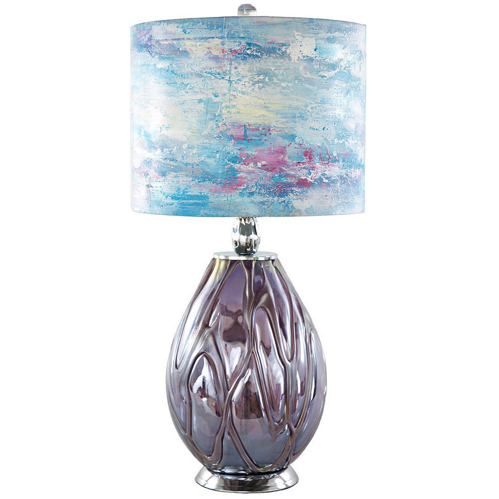 River of goods 26 in purple indoor table lamp with blue hand purple indoor table lamp with blue hand painted playful clouds geotapseo Gallery