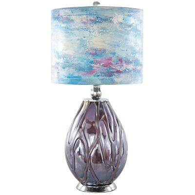 26 in. Purple Indoor Table Lamp with Blue Hand Painted Playful Clouds Shade
