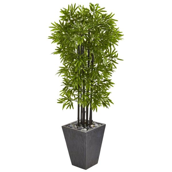 Indoor/Outdoor 61 in. Bamboo Artificial Tree with Black Trunks in Slate Planter UV Resistant