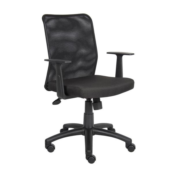 Boss Black Budget Mesh Task Chair with T-Arms B6106