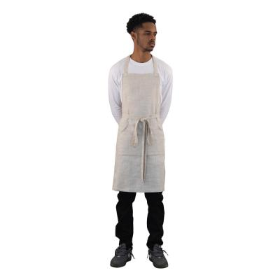 High-End 4 Pocket Linen Butcher Apron, Natural