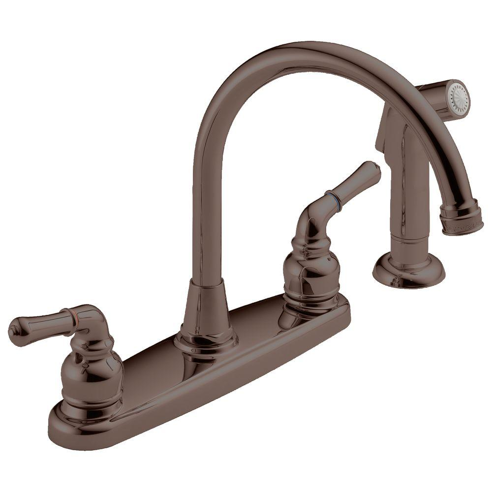 null High-Arc 2-Handle Standard Kitchen Faucet with Side Sprayer in Victorian Bronze