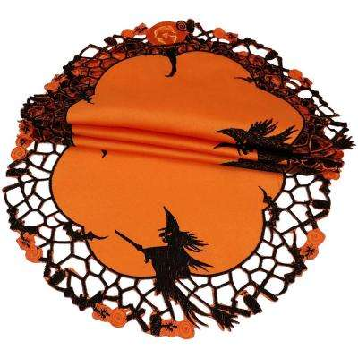 0.1 in. x 16 in. Round Witch Embroidered Cutwork Halloween Doilies (4-Set)