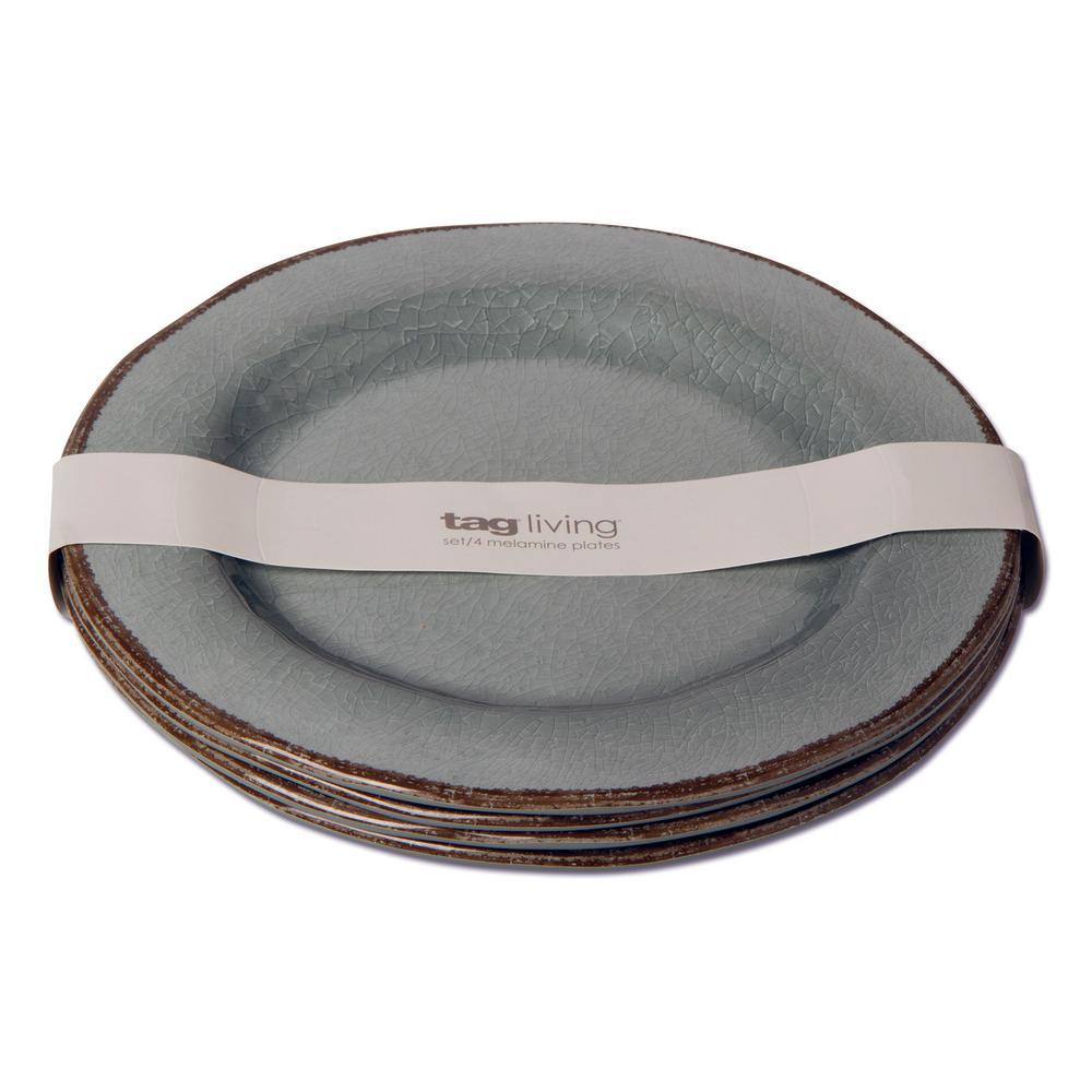 Veranda Slate Blue Melamine Dinner Plate (Set of 4)
