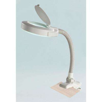 17.5 in. White Magnifier Clip on Lamp