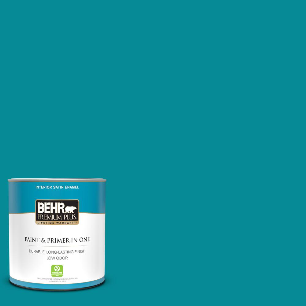 Behr Premium Plus 1 Qt 510b 7 Empress Teal Satin Enamel Low Odor Interior Paint And Primer In One 730004 The Home Depot