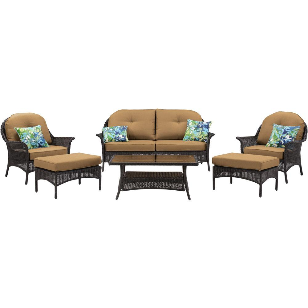 Cambridge Steel Wicker Conversation Set Tan Cushions