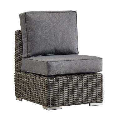 Camari Charcoal Wicker Armless Middle Outdoor Sectional Chair with Gray Cushion
