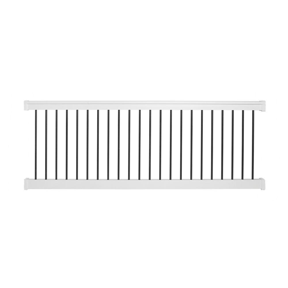 bellaire 36 in h x 96 in w white vinyl with round black aluminum spindles straight railing the home depot