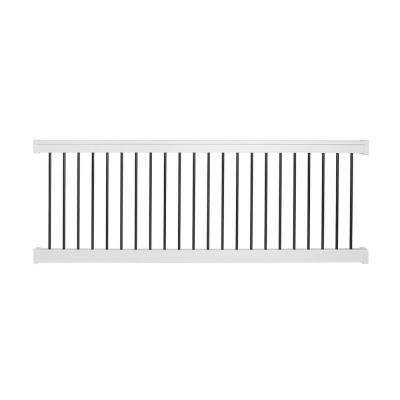 Bellaire 36 in. H x 96 in. W White Vinyl with Round Black Aluminum Spindles Straight Railing Kit