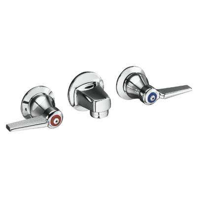 Triton 2-Handle Wall Mount Bathroom Faucet with Grid Drain and Lever Handles in Polished Chrome