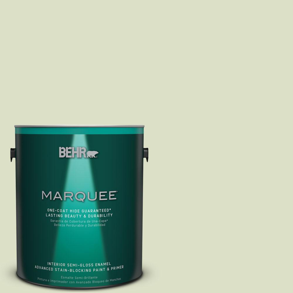 1 gal. #MQ3-47 Airy Green One-Coat Hide Semi-Gloss Enamel Interior Paint