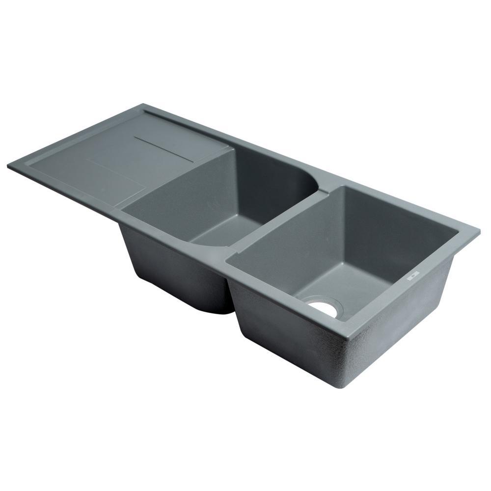 Drop-In Granite Composite 45.75 in. 50/50 Double Bowl Kitchen Sink in Titanium