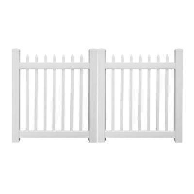 Abbington 8 ft. W x 5 ft. H White Vinyl Picket Fence Double Gate
