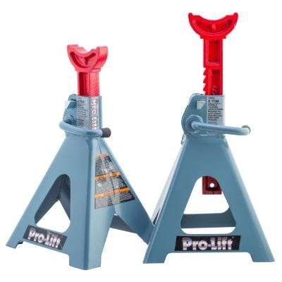 6-Ton Double Locking Pin Jack Stand with Cast Ductile Ratchet Bar Pair