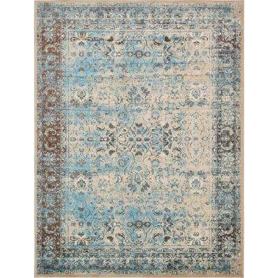 "Imperial Blue and Brown 13' x 19'8"" Rug"