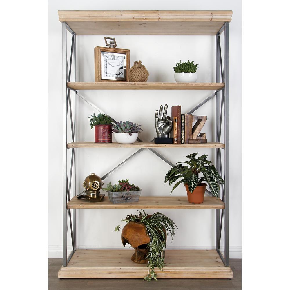 Light Brown 5-Tier Rectangular Wooden Shelf