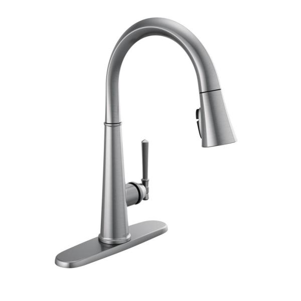 Emmeline Single-Handle Pull-Down Sprayer Kitchen Faucet with ShieldSpray in Lumicoat Arctic Stainless