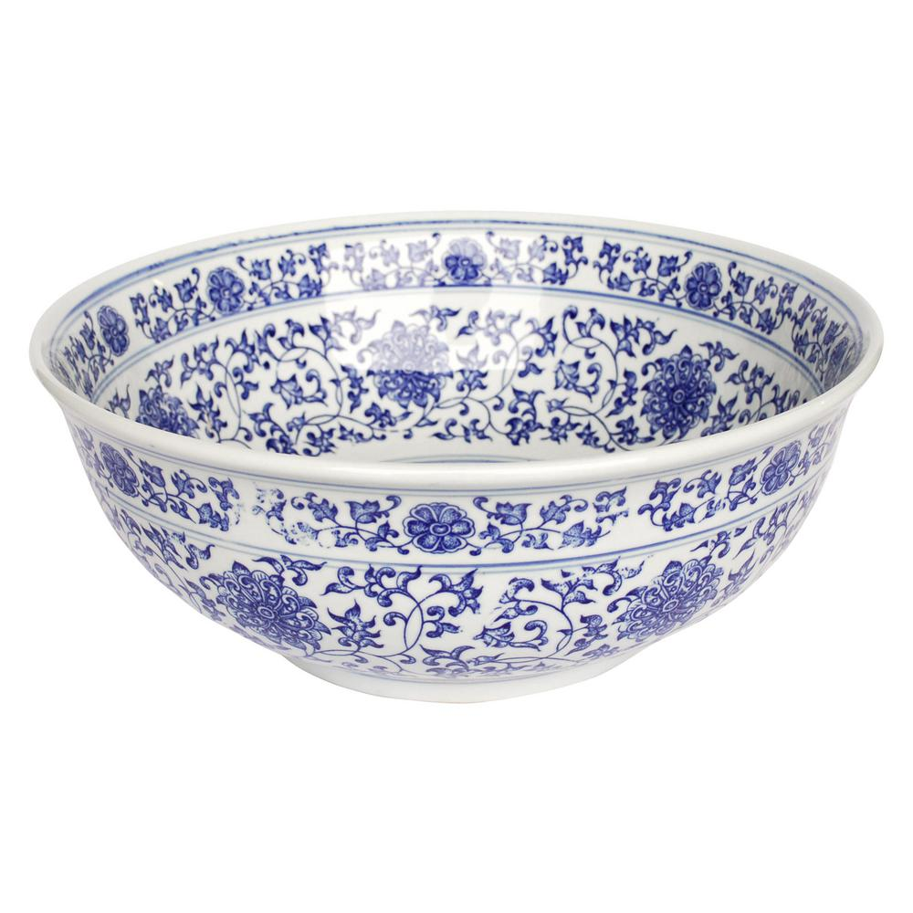 Home Depot Bathroom Vessel Sinks: Eden Bath Ming Dynasty Decorative Porcelain Vessel Sink In