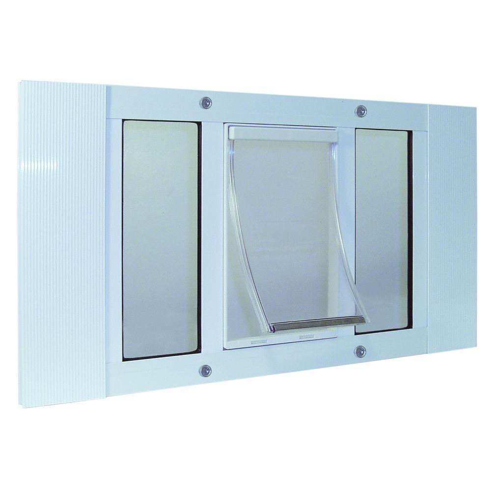 7 in. x 11.25 in. Medium White Original Pet and Dog Door Insert for 27 in. to 32 in. Wide Aluminum Sash Window