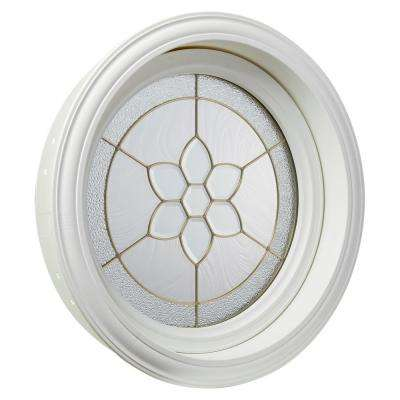 24.5 in. x 24.5 in. White Round Geometric Vinyl Window in Brass Design