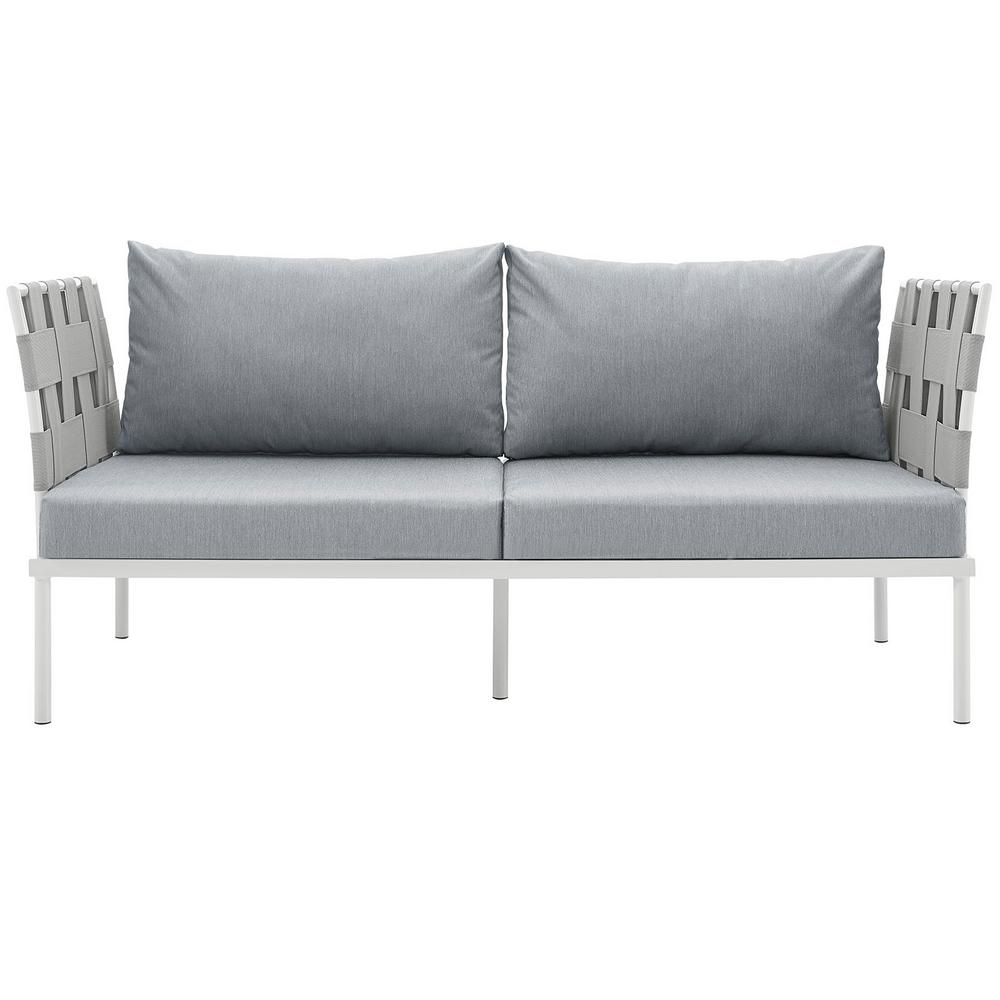 Harmony Aluminum Patio Outdoor Loveseat in White with Gray Cushions