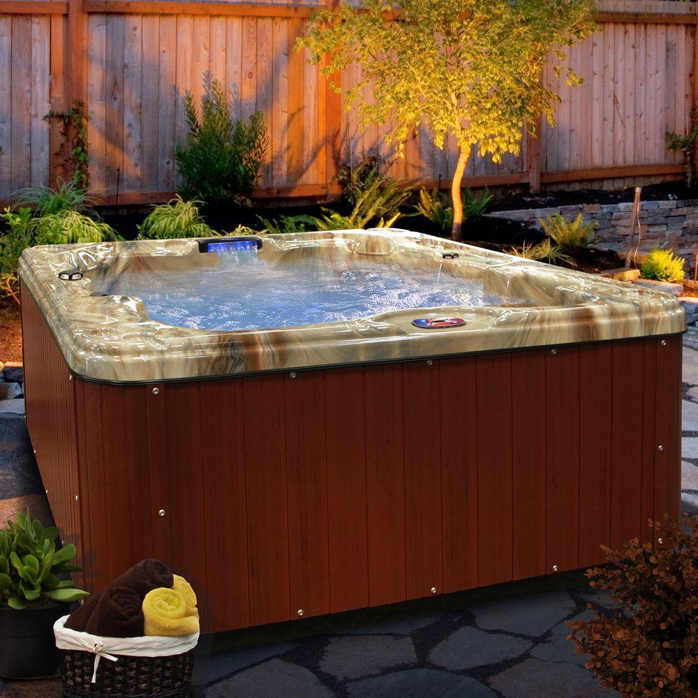American Spas 6-Person 30-Jet Premium Acrylic Lounger Spa Hot Tub with Backlit LED Waterfall