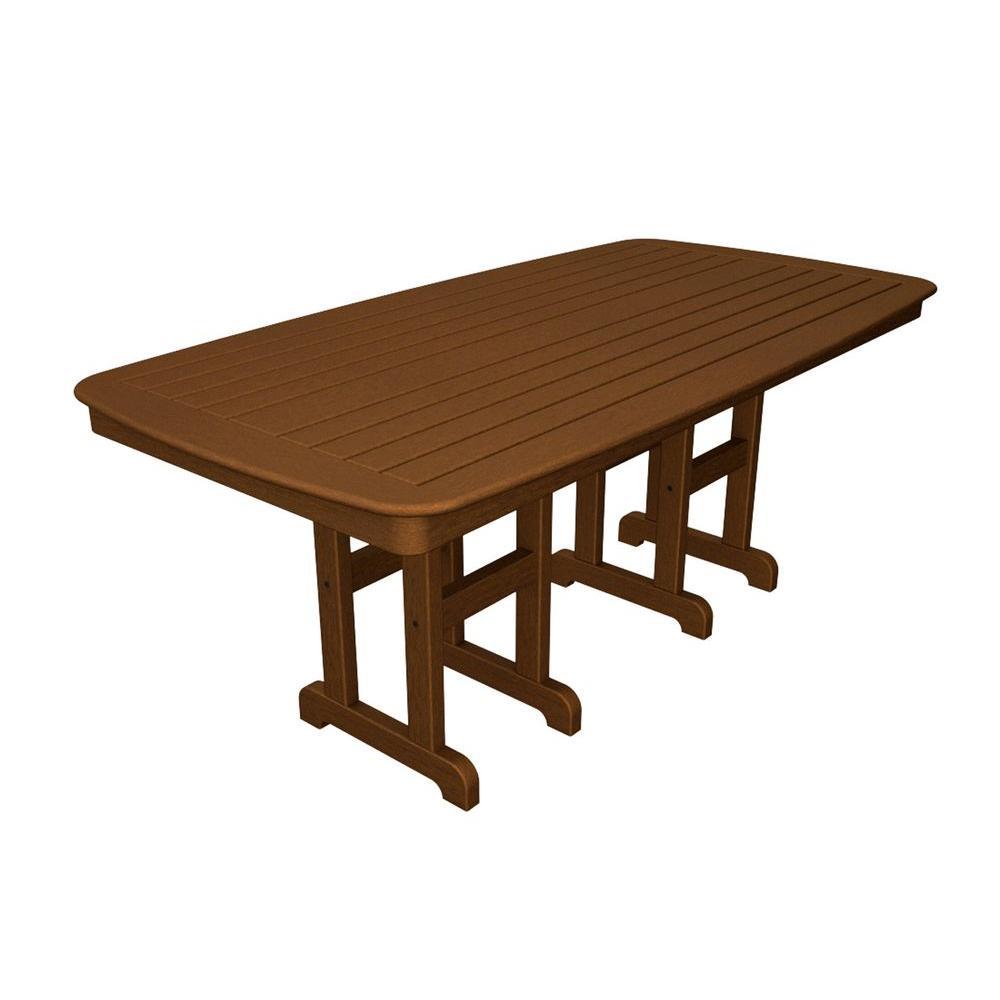 Nautical 37 in. x 72 in. Teak Plastic Outdoor Patio Dining Table