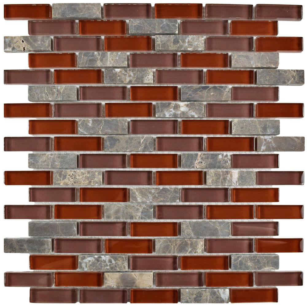 Merola Tile Tessera Subway Bordeaux 11-3/4 in. x 11-3/4 in. x 8 mm Glass and Stone Mosaic Tile