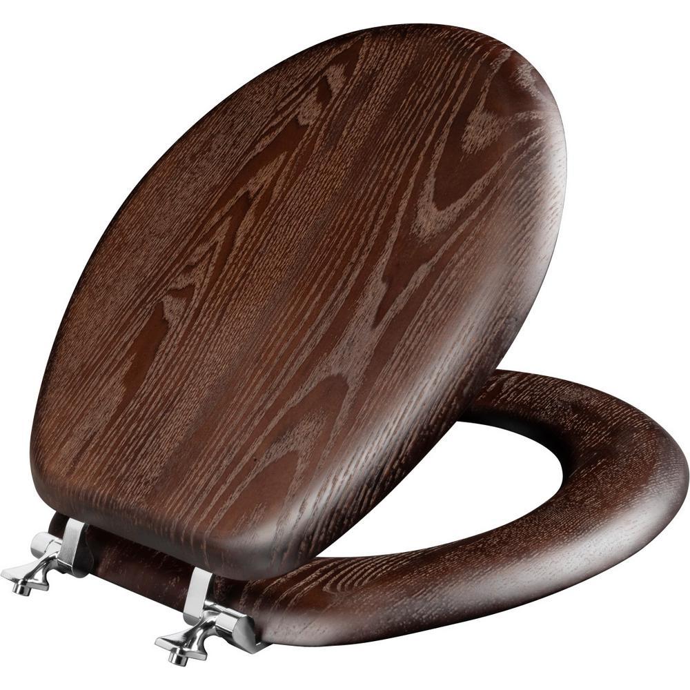 Fine Round Closed Front Toilet Seat In Walnut Inzonedesignstudio Interior Chair Design Inzonedesignstudiocom