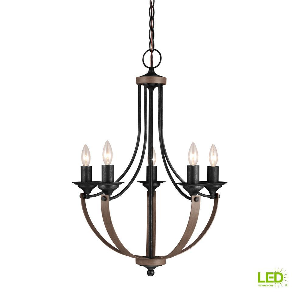 Corbeille 21.5 in. W 5-Light Weathered Gray and Distressed Oak Single