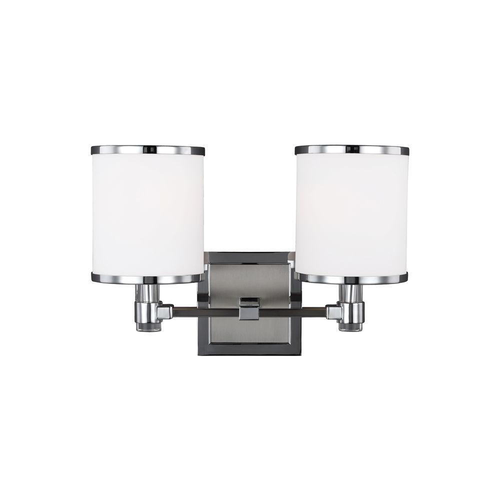 Prospect Park 2-Light Satin Nickel/Chrome Wall Bath Light