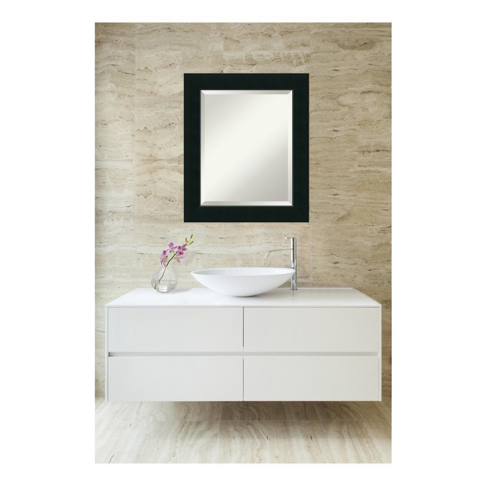 Corvino Black Wood 21 in. W x 25 in. H Contemporary Bathroom Vanity Mirror