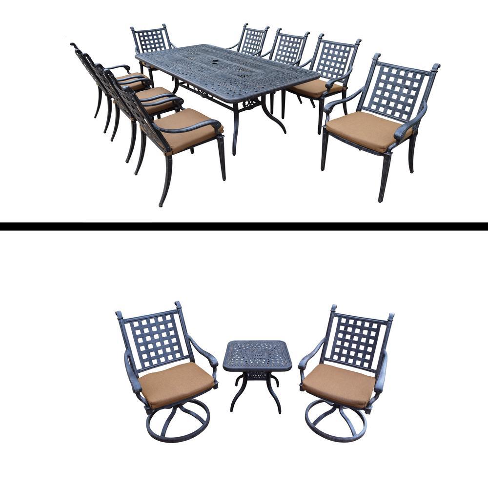 Belmont Premier 12 Piece Aluminum Outdoor Dining Set With Sunbrella Brown  Cushions