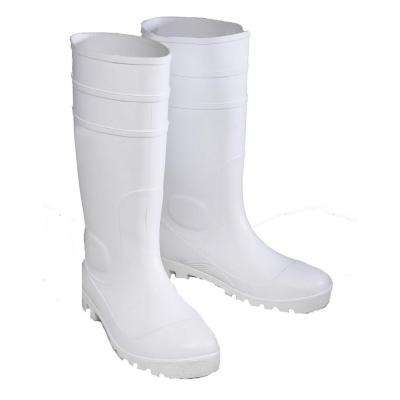 White PVC Steel Toe Boot Size 10