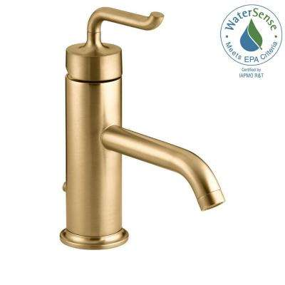 Purist Single Hole Single Handle Low-Arc Bathroom Vessel Sink Faucet in Vibrant Modern Brushed Gold